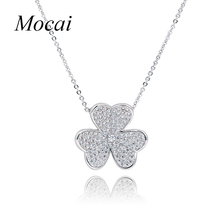 Fine Jewelry New Fashion Gold Filled Rhinestone Crystal Flower Necklace Zircon Three Petal Clovers Jewellery for Women ZK20(China)
