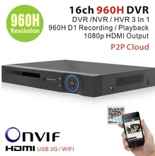 CCTV surveillance 16ch D1 960H security wifi DVR HDMI 1080P 16 channel DVR NVR Recorder onvif 2. 2 for security ip camera