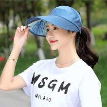 XINCAI 2018 Hot 1PCS women summer Sun Hats packable sun visor hat with big  heads wide brim beach hat UV protection female cap 764c96edbd53