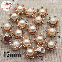 50pcs 12mm golden flower pearl plastic button sewing button decoration sewing craft scrapbook accessories(China)