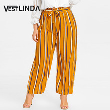 Buy VESTLINDA 2018 Big Size Striped Palazzo Pants Plus Size Women Casual Loose Belt Elastic Waist Wide Leg Pants Women Clothing 5XL for $16.99 in AliExpress store