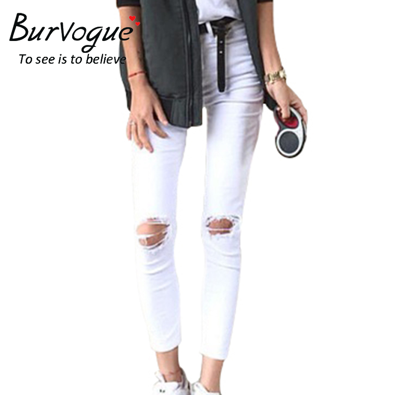 Burvogue 2017 Mid-Waist Ankle-Length Pants Hole Fashion Pants Plus Size Skinny Style Jeans New Summer White Jeans For GirlsОдежда и ак�е��уары<br><br><br>Aliexpress