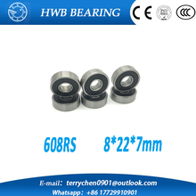 Free shipping 10pcs 608-2RS 608RS 608 2RS ABEC-5 8 x 22 x7mm black double rubber sealing cover deep groove ball bearing