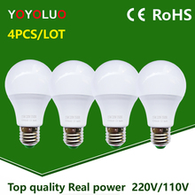 4PCS/Lot LED Bulb Lamps E27 110 220V Light Bulb Smart IC Real Power 3W 5W 7W 9W 12W 15W High Brightness Lampada LED Bombillas