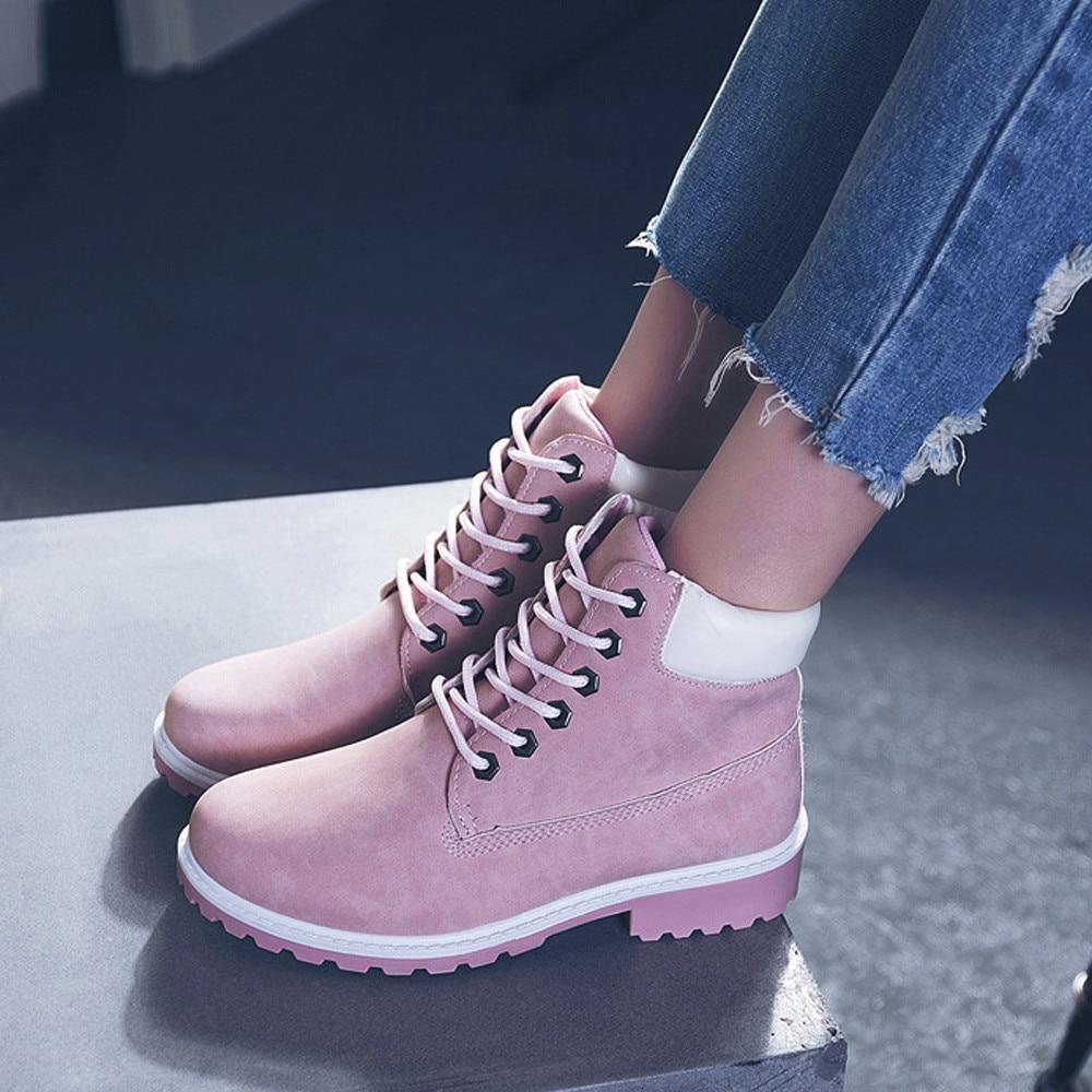Szyadeou Women Ladies Round Toe Lace-up Faux Boots Ankle Casual Martin Shoes botas mujer invierno kozaki damskie schoenen 30 22