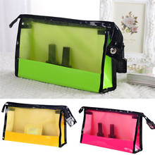 PU Transparent Mesh Women Cosmetic Make Up Bag Quality zipper Travel Lady Toiletry Pouch Packs outdoor Portable bath Bags sale(China)