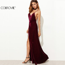 COLROVIE Burgundy Velvet Maxi Backless Dress Womens Autumn Party Dresses Deep V Neck Long Elegant Dress New Strappy Wrap Dress(China)