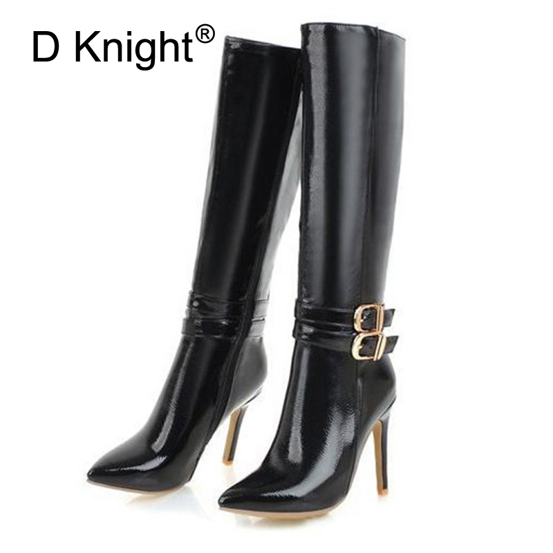 10CM Extreme High Heels Boots Fashion Pole Dancing Knee-High Boots Side Zip Ladies Knee Boots Plus Size 33-48 Woman Winter Shoes (2)