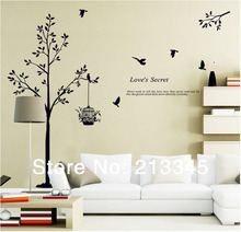 [Fundecor] new home decor tree wall stickers birdcage birds black wall decal decoration home murals stickers muraux