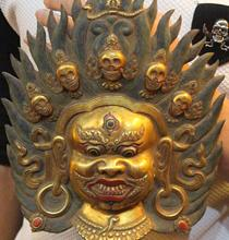 "10"" Tibet Buddhism 100% Purple Bronze 24K Gold Mahakala Buddha Head Bust Mask 02017(China)"