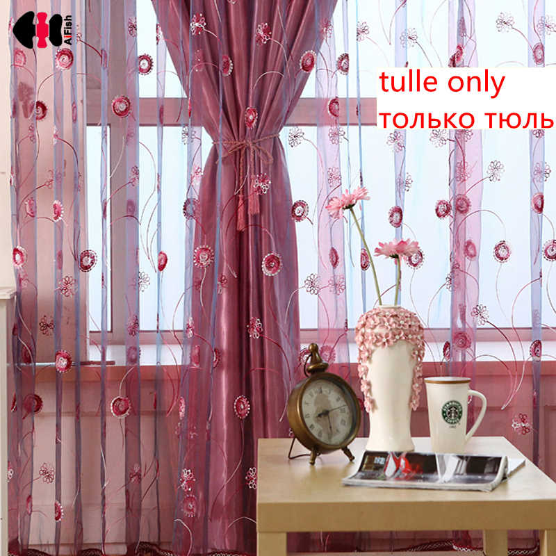 Pastoral Towel Sequins Embroidered Curtain Nets Bedroom Wedding Room Living Room Window Drapes French Curtain Drape WP255C