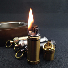 Creative Vintage Mini Oil Kerosene Lighter Flame Cigarette Lighter Thread Pattern Metal Gadgets Pendant(China)