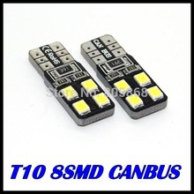10pcs/Lot Canbus T10 8smd 2835 LED car Light Canbus W5W t10 led canbus 194 2835SMD Error Free White Light Bulbs