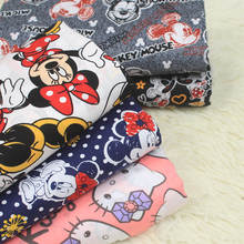 140*100cm Minnie Cartoon Printed 100% Cotton Kitty Fabric for Baby Bedding Textile Baby Minnie Mouse Cloth Sewing Hello Kitty