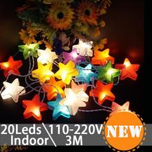 Cartoon Design Star Shape 3M 20 Led string Lights Christmas fairy light for Indoor patio party decoration led falling star light