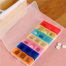 Rectangle Outdoor Travel Pill Cases Portable 7-Day Medicine Box Tablet Dispenser Storage Container 21 Compartments Plastic Box
