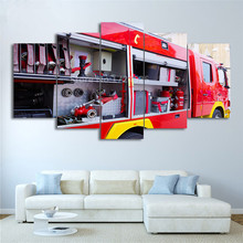 HD Printed 5 Piece Canvas Art Fire Truck Painting Fire Tools Wall Pictures Decoration Modular Painting For Living Room Framed