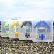 Soft Silicone Swimming Nose Clips + 2 Ear Plugs Earplugs Gear with a case box Pool Accessories Water Sports Y40(China)
