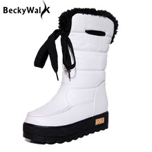 3Colors Ladies Platform Snow Boots Mid-calf Thicken Warm Women Boots Casual Botas Mujer Comfortable Winter Shoes Woman WSH195(China)