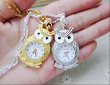 PCS High Quality Hot Cartoon Owl Pocket Watch Sweater Chain Necklace Slide Watch Y1489