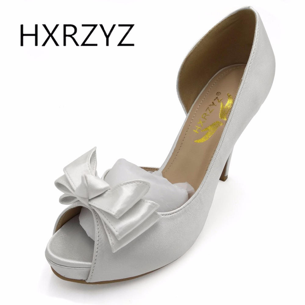HXRZYZ women fashion fish mouth open toe wedding shoes silk surface bow ladies high heel bridal shoes white red black big size<br>
