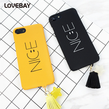 Lovebay Letter NICE Smiling Face Phone Case For iPhone 7 7 Plus 6 6s Plus 5 5s SE Star Tassel Pendant Hard PC Phone Case Cover