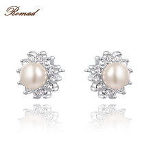 Romad Silver Color Stud Simulate Pearl Earrings with Flower Shape White Zircon For Women Trend Jewelry