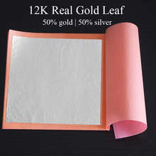 One booklet, High quality, 12K real gold leaf, 50%gold ,50% silver, white gold leaf, 25pcs per booklet,8X8cm, free shipping