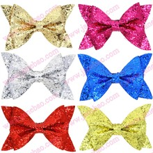 free shipping 50pcs 2017 newest big seuqin hair bows with clips glitter hair bows big hair bows for girl hair assesories(China)