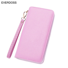 2016 Fashion Women Wallet  Candy Color PU Leather Long Female Clutch Coin Purse Portable Casual Zipper Wallet Carteira Feminina