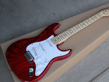 Factory Custom Red Body Electric Guitar with White Pickguard,3 Pickups,Maple Neck,Chrome Hardwares,Offer Customized
