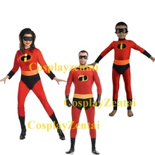 Free Shipping The Incredibles Family Three Pieces Spandex Cosplay Halloween Costume(China)