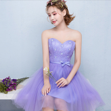 free shipping 2017 new short strapless sweetheart girl tulle party ball lavender dresses cocktail elegant lace dress S3703