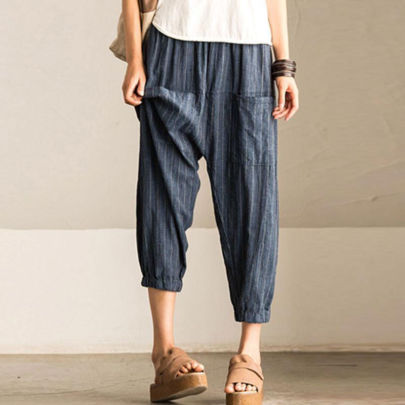 2018 SCHMICKER Women Casual Work Office High Elastic Waist Pockets Striped Baggy Harem Pants Turnip Trousers Wide Leg Pantalon 7