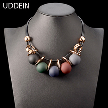 Buy UDDEIN Black leather chain plastic gem statement choker necklace & pendant party jewelry gift collier vintage maxi necklace for $5.94 in AliExpress store