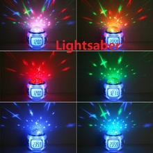 Colorful Music Starry Star Sky Projection projector with Alarm Clock Calendar Thermometer Christmas H4962