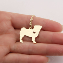 1pcs Rose Gold Pug Necklace Pendant Puppy Heart Pendant Dog Memorial Pet Necklaces & Pendants Women Animal Charm Christmas Gift(China)
