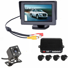 3 In 1 Auto Parking Assist System 4.3 Inch Car Monitor With Parking Sensor Parktronic With Car Rear View Camera For Car-styling