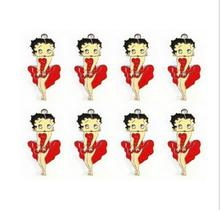 Lot 100pcs Dance dress Betty Boop Cartoon Enamel Metal Charm Pendants DIY Jewelry Making Mobile Phone Accessories(China)