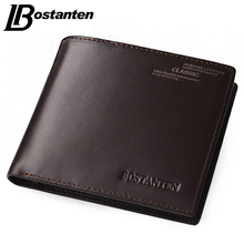 Bostanten Coffee New Sale Vintage Men Vertical Style Cow Leather Men Wallet Men Designer Carteras Money Clip Men Purse
