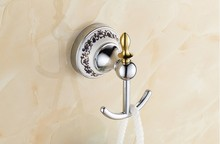 Fashion Chrome European Antique ceramic Robe Hook ,Clothes Hook,Coat Hook, Vintage single robe hook Bathroom Accessories