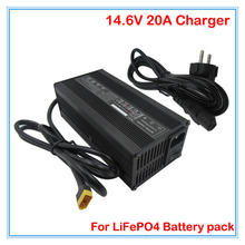 360W 12V LiFePO4 Battery Charger 14.6V 20A charger 12V 20A XT60 Port with Aluminum case Use for 4S 12V Battery pack charger