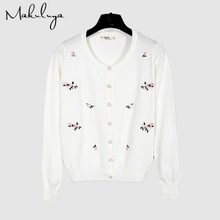 Makuluya Casual Women Flowers Embroidery New Spring Summer Autumn Coats Cardigan Sweater Female Vintage Lovely High Quality QW(China)