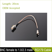 Sindax Connector BNC female to 1.0/2.3 male straight adapter RG179 pigtail cable 75ohm BNC female cable connector 20cm(China)
