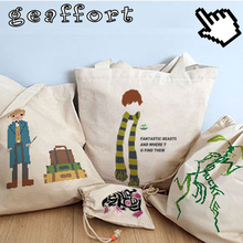 2017 #0047  oxford canvas Fantastic Beasts and Where to Find Them 36*40cm home Storage & Organization Storage Bags