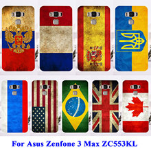 AKABEILA Soft TPU Hard Plastic Phone Cases For Asus Zenfone 3 Max ZC553KL Zenfone3 Max 5.5 inch Case Russia UK Brazil Flag Cover