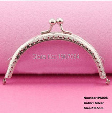 Free Shipping PA006 1pcs Blank Purse Frame Hanger 10.5cm Silver Metal Clasps Purses Accessories Handles Handbags Diy Bag Parts(China)