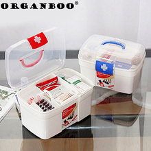 Large Household Home Makeup Organizer Plastic Box Storage Boxes & Bins Medical Box Double-layer First Aid Kids Kit  15 X13cm