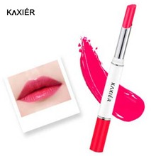 Lips Makeup Double Color Lipstick 6 Color Gloss Korea Makeup Lips Cosmetic Face Make Up Waterproof Famous Brand(China)