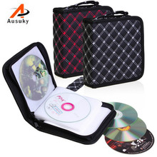 A Ausuky Microfiber skin Portable 40 Disc Capacity DVD CD Case for Car Media Storage CD Bag -20(China)